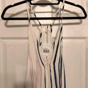 BRAND NEW White striped asymmetric midi dress